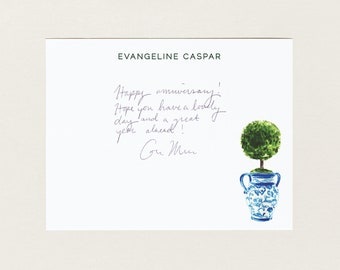 Personalized Stationery - Topiary in Chinoiserie Planter - Stationery Suite - Blue and White - Preppy Stationery Set - Custom Gift for Her
