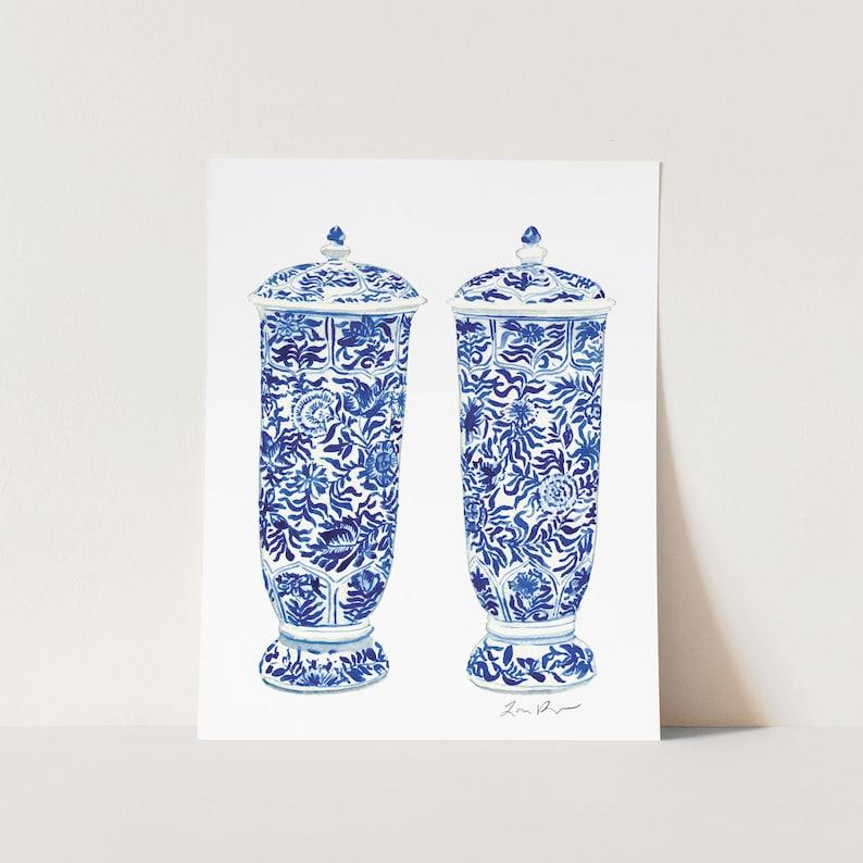 Blue and White China Art Ginger Jar Vases Pair Ginger Jar Art image 1