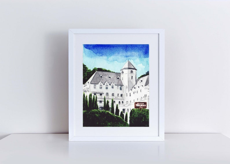 72c563f96efd Chateau Marmont Hotel West Hollywood Art Print Watercolor | Etsy