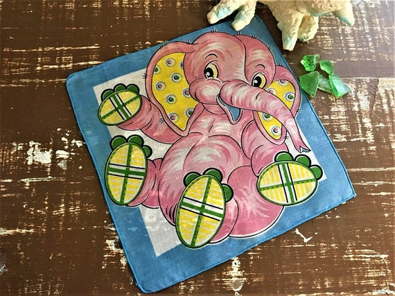 Darling Vtg. Child's Hanky ~~ Seeing Pink Elephant