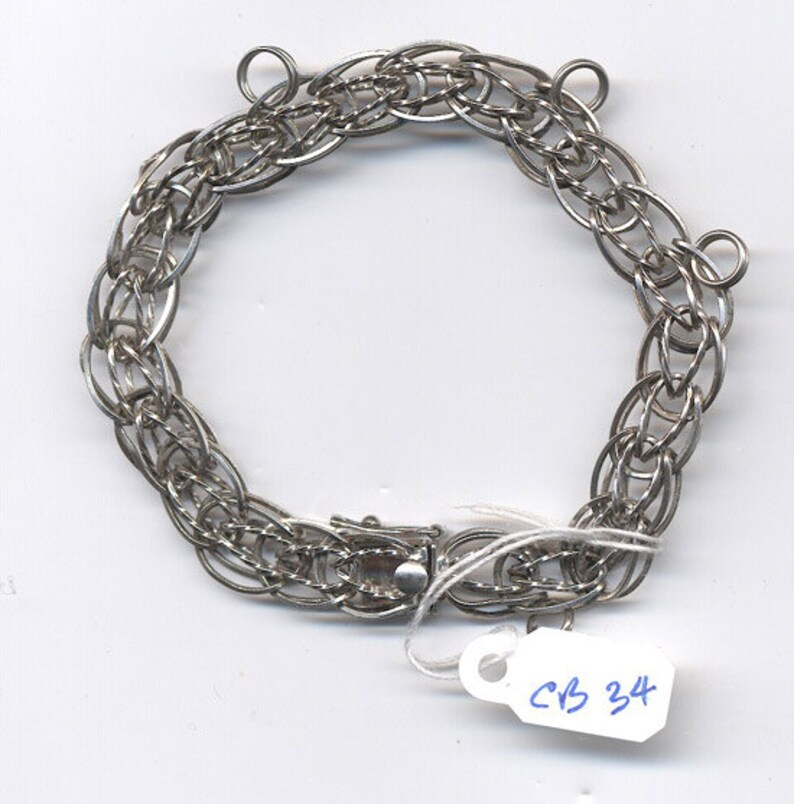 8b7bba7d1b635 Vintage Sterling Silver Charm Bracelet... Starter Double Link  Bracelet...Signed FORSTNER....CB 34
