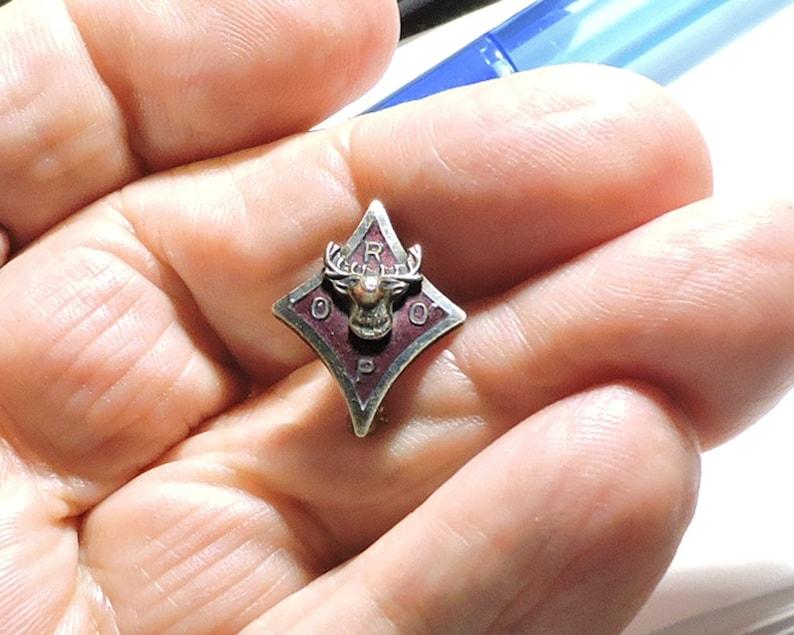 Vintage Royal Order of Purple Sterling Silver Enamel Elk Pin