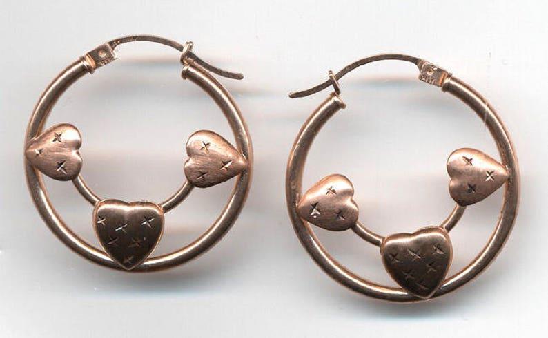 Vintage 10K Yellow Gold Heart Hoop Earrings.. Latch Back Heart Earrings...Wedding....Birthday 10K Gold Earrings