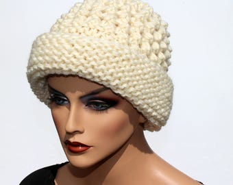 6064289f4a7 Hand Knit Pure Wool White Winter Hat