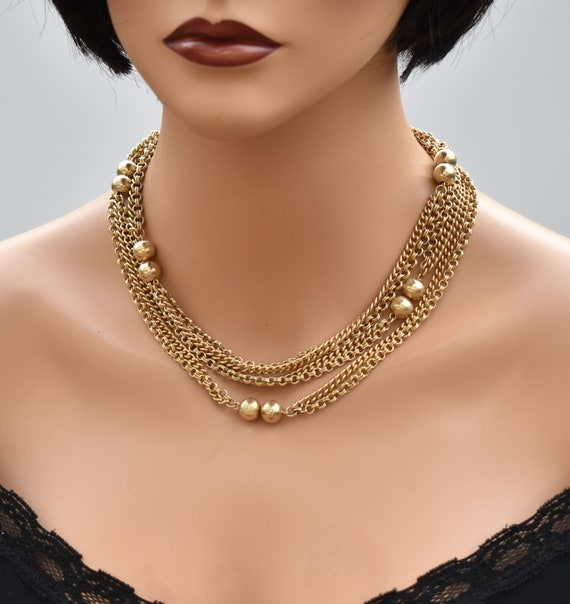 Vintage long multi chain necklace Gold double cha… - image 6