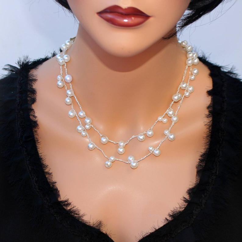 White pearls illusion statement necklace Double strand pearls floating wedding jewelry Unique artisan chrochet necklace Woman/'s gift