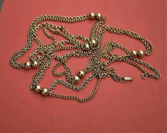 Vintage long multi chain necklace Gold double cha… - image 7