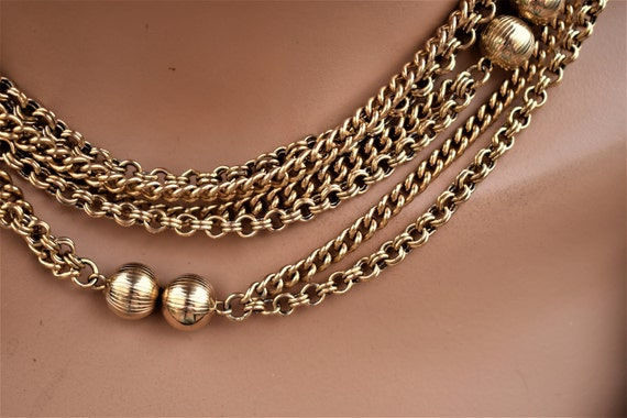 Vintage long multi chain necklace Gold double cha… - image 3