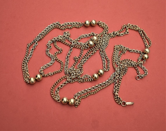 Vintage long multi chain necklace Gold double cha… - image 5