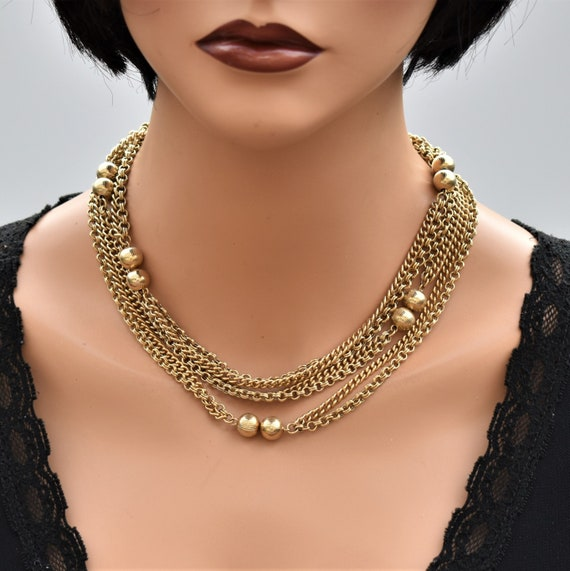 Vintage long multi chain necklace Gold double cha… - image 1