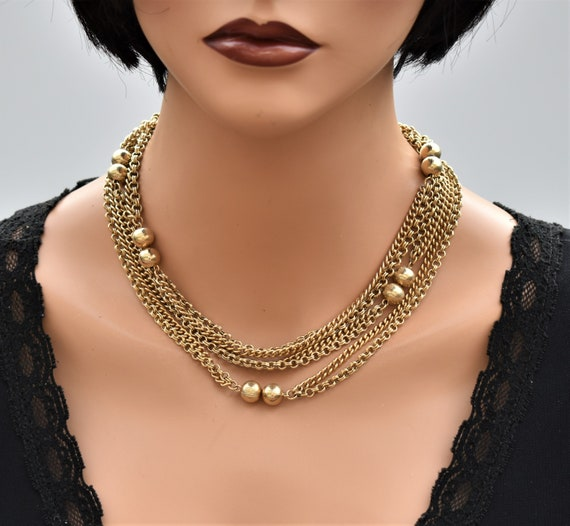 Vintage long multi chain necklace Gold double cha… - image 8