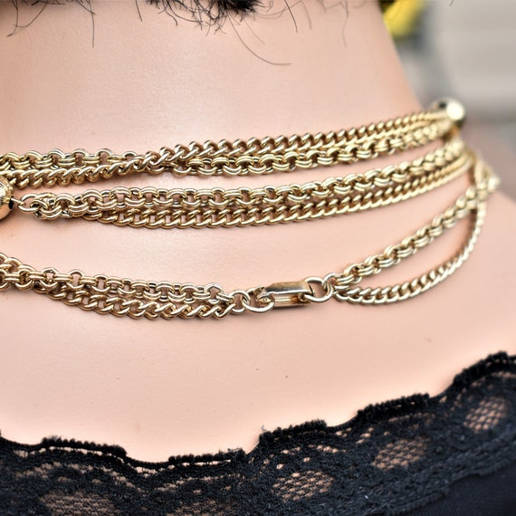 Vintage long multi chain necklace Gold double cha… - image 4