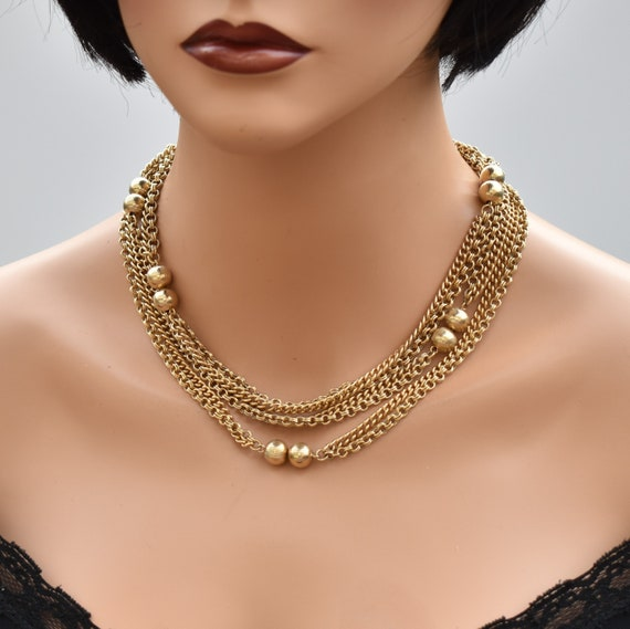 Vintage long multi chain necklace Gold double cha… - image 2