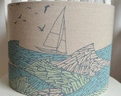 Stormy Seas blue and green linen lampshade