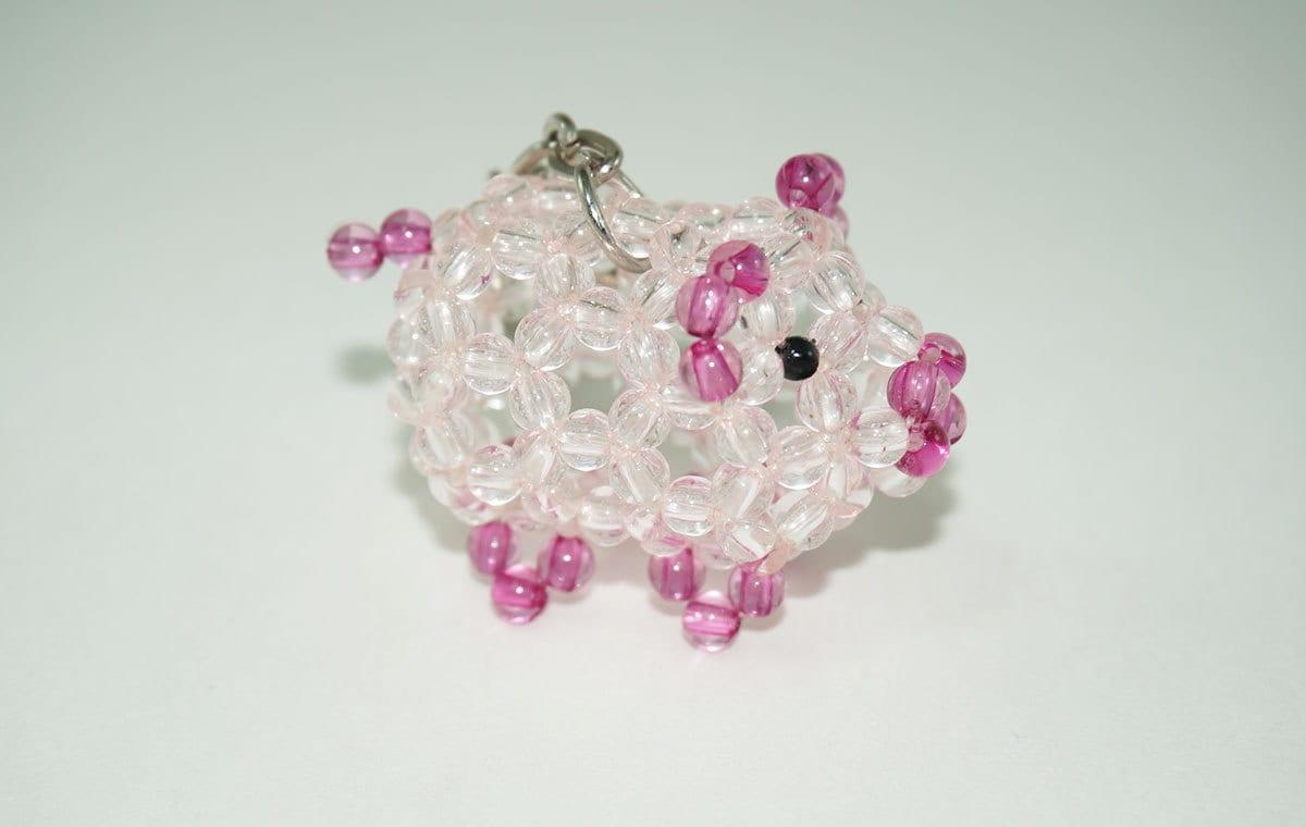 Beaded Pig Pig Keychain Beaded Pig Keychain Pink Pig Cute  20b69c423fc7