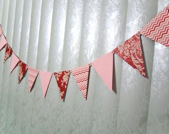 Girl Banner, Long Banner, Valentine Banner, Pink Red Banner, Pink Chevron Banner, Red Chevron Banner, Girl Dorm Room Banner, Mantel Banner