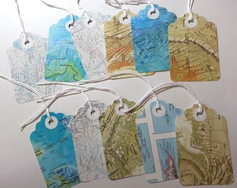 Atlas Tags, Upcycled Atlas Tags, Map Tags, 24 Pieces Upcycled Tags, Tags with Strings, Old Maps Tags, Favor Tags, Upcycled Tags, Wedding Tag