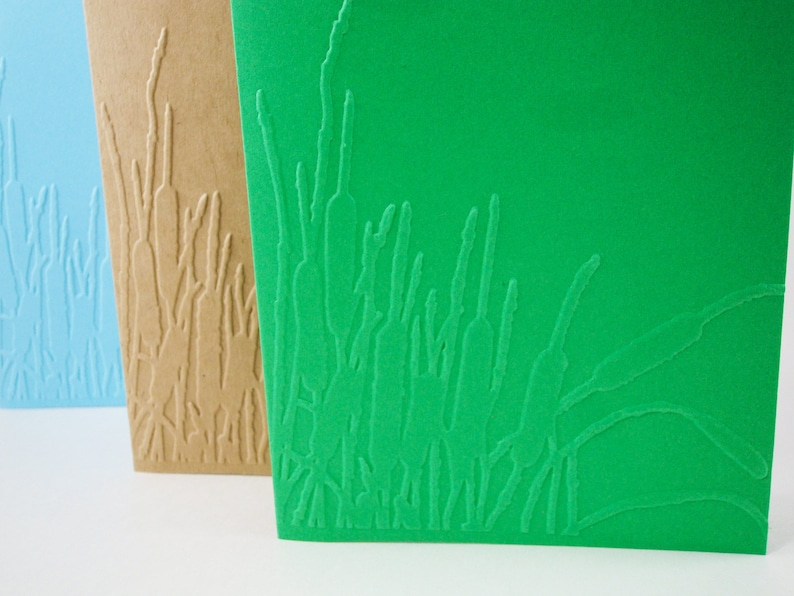Embossed Nature Card Embossed Cattail Cards Swamp Land Stationery Cattail and Grass Cards Marsh Land Cattails Card Cat tails and Reeds