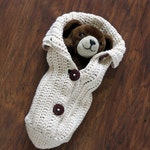 Crochet Cocoon Pattern, Photo Prop, EASY CROCHET PATTERN, Chunky Button Cocoon - Swaddle Sack - Crochet Baby Patterns by Deborah O'Leary