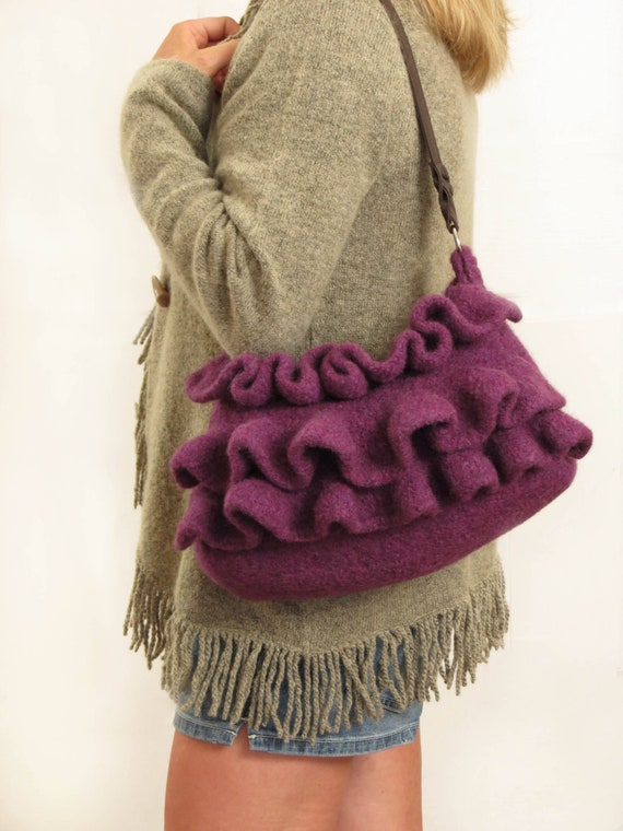 Knit Boho Ruffle Bag Pattern Felted Purse Knitting Pattern Etsy