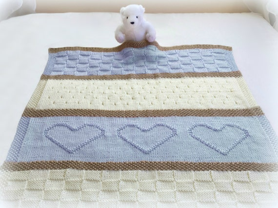 Baby Blanket Pattern Knit Baby Blanket Pattern Heart Baby Etsy Inspiration Baby Blanket Patterns Knitting