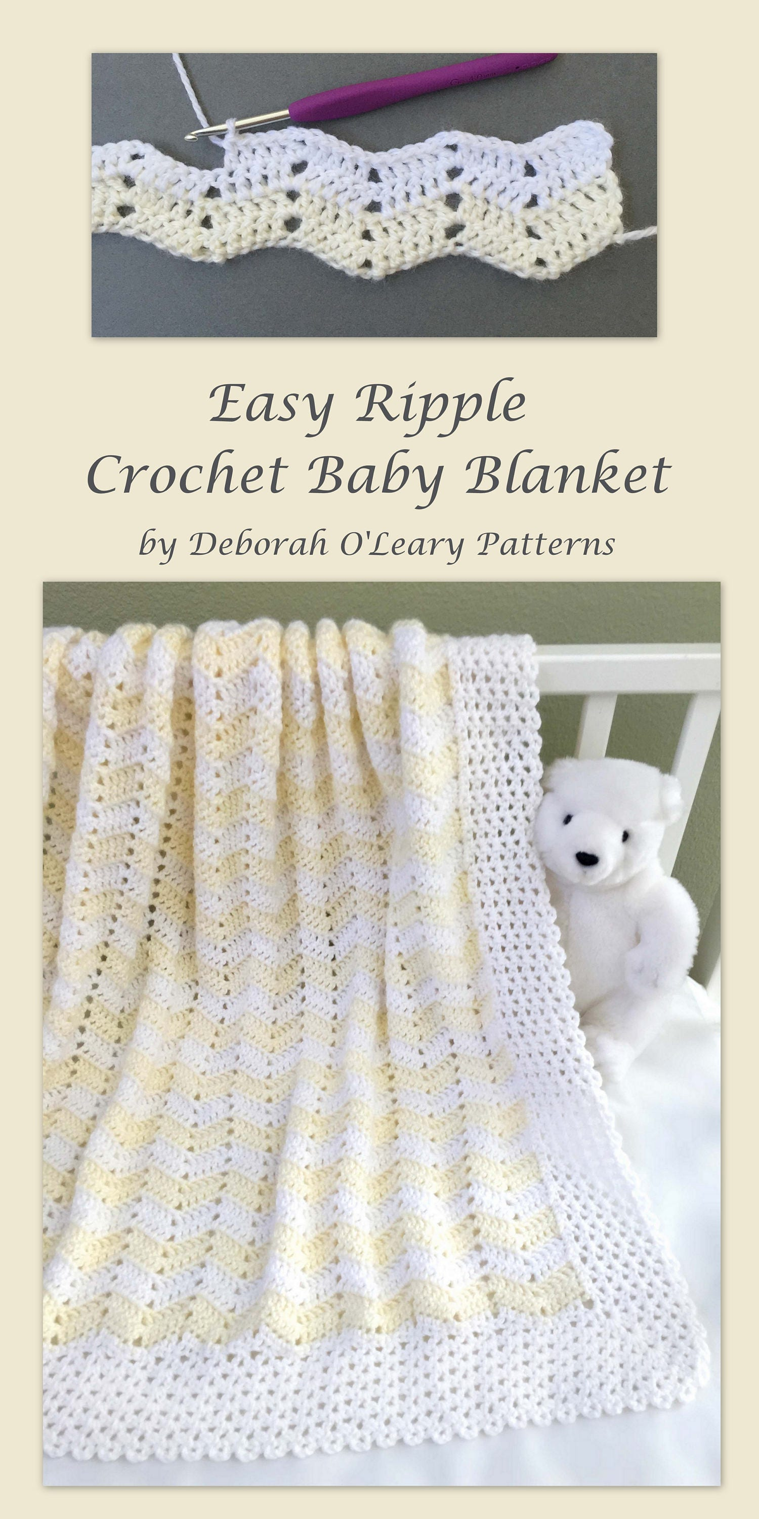 Crochet Baby Blanket Pattern Easy Ripple Baby Blanket | Etsy