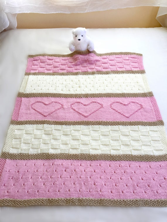Baby Blanket Pattern Knit Baby Blanket Pattern Heart Baby Etsy