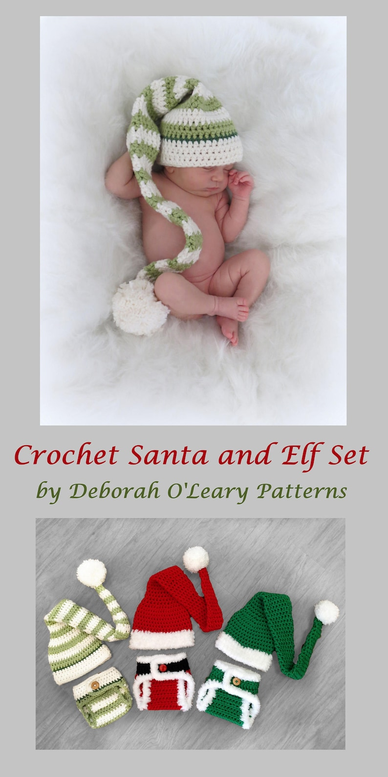4e7b0d0bf61 Crochet Elf   Santa Hat and Diaper Cover Pattern Newborn