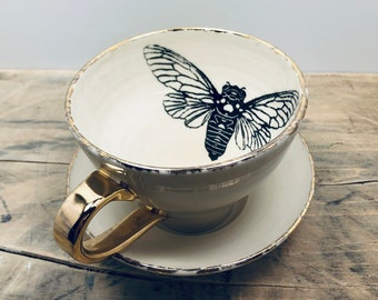 SALE Luna Moth Black /& Gold Porcelain Small Bowl Dipping Bowl Jewelry Dish Ring Dish