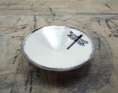 Dragonfly White Silver Porcelain Small Bowl, Jewelry Dish, Ring Dish, Dipping Bowl