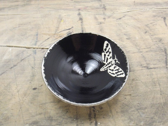 Death's Head Moth White, Black & Silver Porcelain Small Bowl, Jewelry Dish, Ring Dish, Dipping Bowl