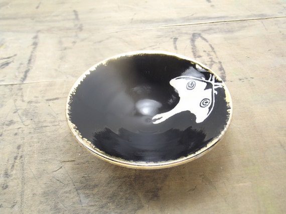 SALE Luna Moth Black & Gold Porcelain Small Bowl, Jewelry Dish, Ring Dish, Dipping Bowl