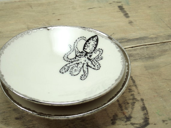 SALE Octopus White & Silver Porcelain Small Bowl, Jewelry Dish, Ring Dish, Dipping Bowl