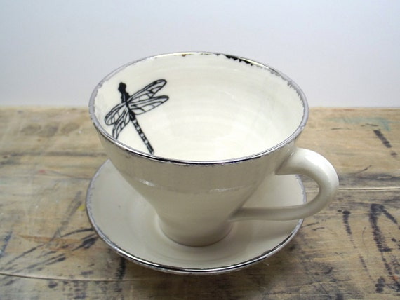 Dragonfly White and Silver Porcelain Large Tea Cup & Saucer