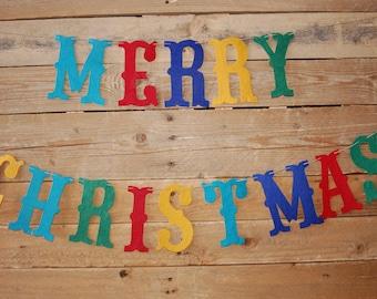 Merry Christmas felt banner {stiffened felt}