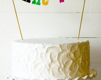 Bonne Fete felt banner cake topper - {stiffened felt}