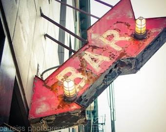 Bar Sign Art Print Bar Decor Vintage Rustic Industrial Home | Etsy
