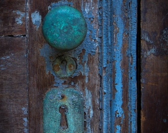 Old Rusted Teal Turquoise Baby Blue Door Knob Lock Vintage Antique Rustic Home Decor Art Print Door Photography Jersey City Art Print