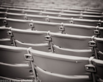 Black and White Stadium Seating Photography Modern Industrials Minimal Art Print Sports Fans Music Lovers Modern Home Decor Office Wall Art