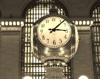 New York City Photography, NYC Photography, Sepia Photography, Grand Central Station, Clock Print, Sepia Art