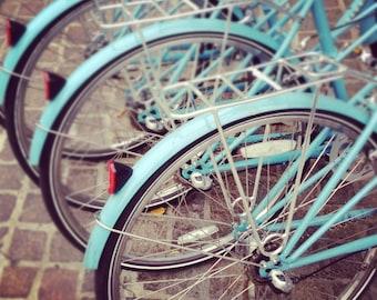 NYC Photography, New York Print, Bicycle Art Print, Turquoise Bikes, Rustic Modern Home Decor, Bike Art