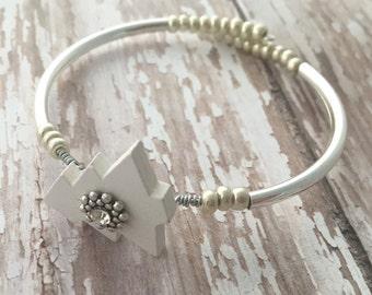 Christmas Bracelet, White Tree Bangle, Christmas Tree Jewelry, Pine Tree Bracelet, Christmas Gift, Holiday Gift, Winter Jewelry