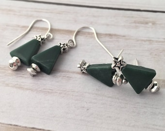 Christmas Earrings, Christmas Tree Earrings, Holiday Earrings, Christmas Tree Studs, Evergreen Tree Earrings, Hypoallergenic Earrings