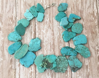 Turquoise Statement Necklace, Chunky Turquoise Necklace, Turquoise and Silver Necklace, Turquoise and Gold Necklace, Western Necklace