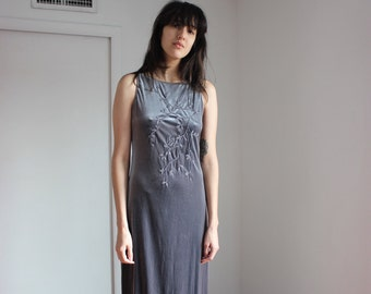 Vintage 90s Silver Velvet Dress w/floral embroidery