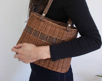 Vintage Brown Basket Woven Satchel