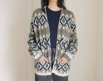 Vintage Southwestern Print Faux Wool Cardigan Sweater Medium