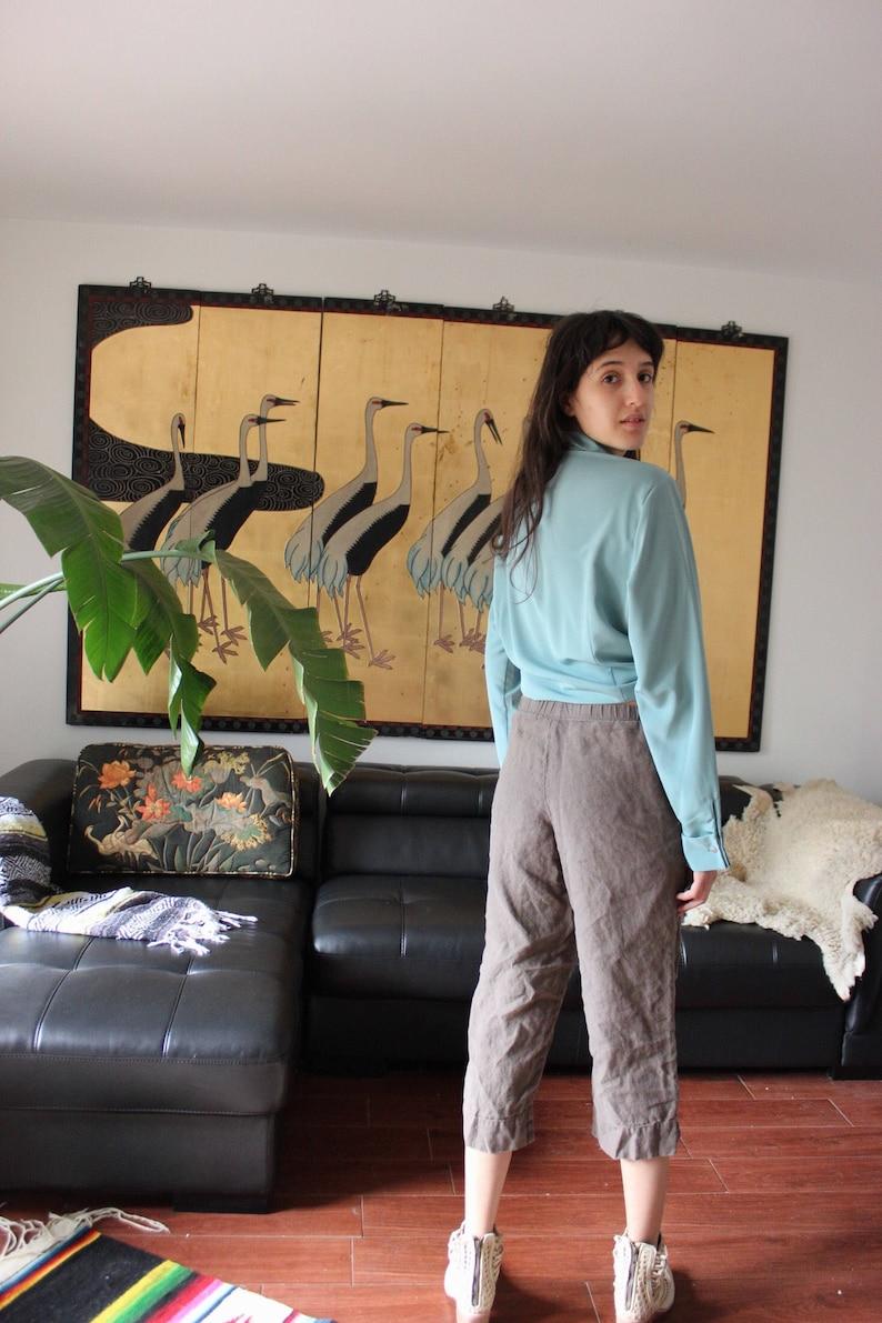 Vintage Teal Rhinstone Gem Button Silk Blouse