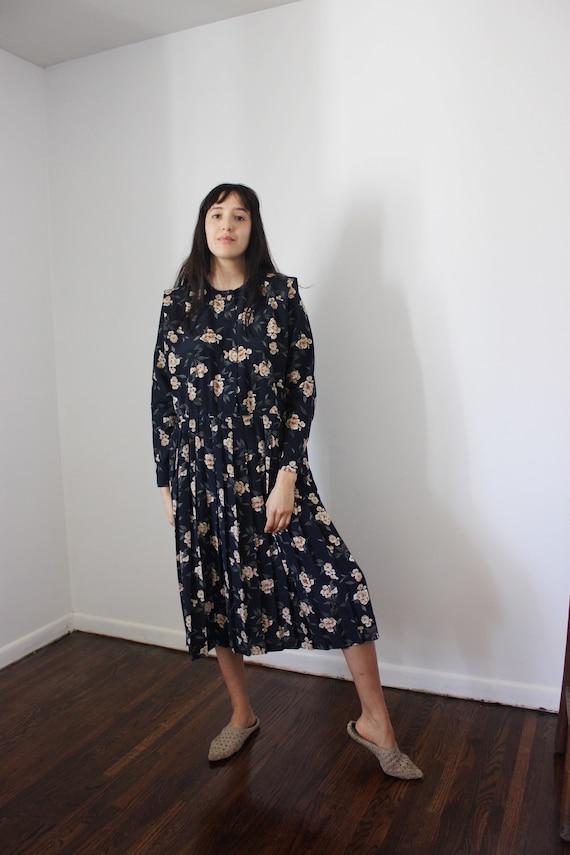 Vintage Navy Floral Dress