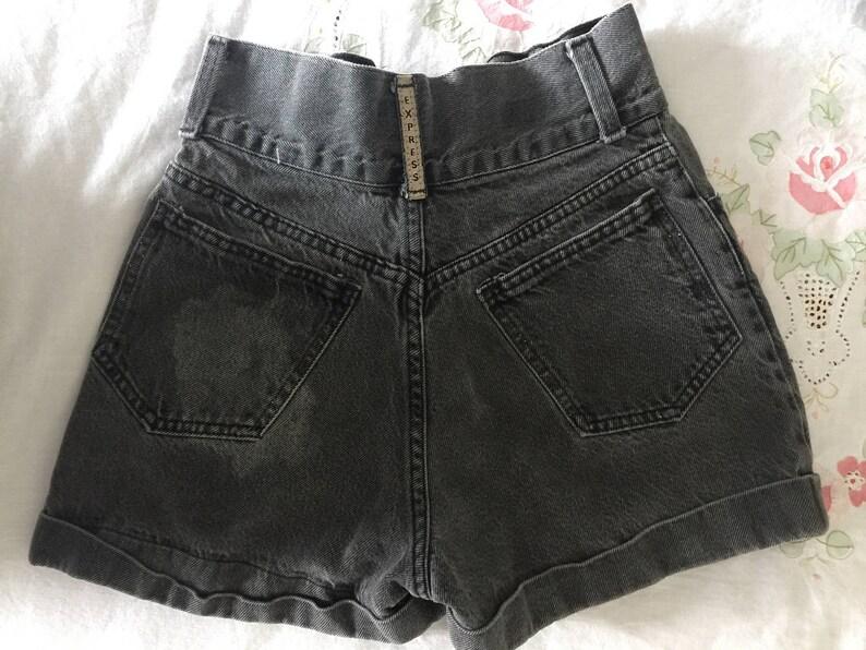 Vintage 90s High Waisted Faded Acid Wash Black Denim Express Shorts